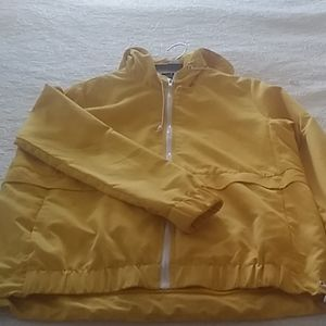 Yellow hooded light weight jacket